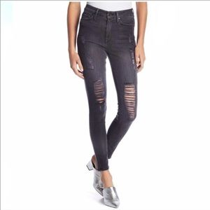 {Good American} high rise distressed skinny jeans